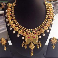 Ruby Peacock Puligoru Necklace with lakshmi Pendant