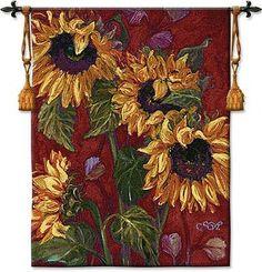 "sunflower weathervane   Floral Tapestry Wall Decor / Sunflower II / 40""x53"""