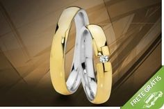 Par de alianças em ouro e prata com garantia eterna, gravação e estojo luxo, por apenas R$499.90