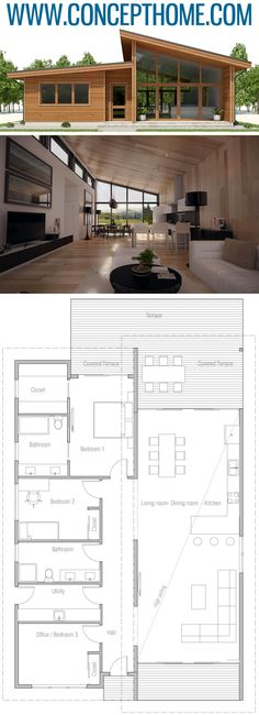 Small House Plan, Floor plan with three bedrooms, modern arc.- Small House Plan, Floor plan with three bedrooms, modern architecture - Layouts Casa, House Layouts, Small House Layout, House Layout Plans, Small Floor Plans, Small House Plans, Modern House Floor Plans, Modern Home Plans, Cheap House Plans