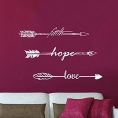 Wall Decals Quotes Faith Hope Love Quote Arrow Decal Indie Tribal Feather Words Kids Nursery Arrows Hipster Fashion Wall Vinyl Decal Stickers Bohemian Home Decor Bedroom Art Murals - - Amazon.com