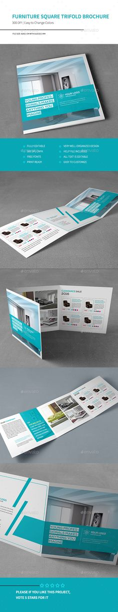 Furniture Square Trifold Brochure Template #design Download: http://graphicriver.net/item/furniture-square-trifold-brochure/13065402?ref=ksioks