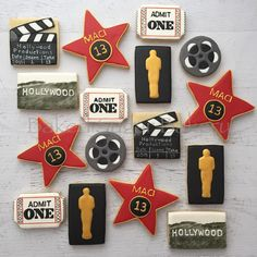 Fun Hollywood themed birthday. #customcookies... - Baked Sugar Bakery Hollywood Sweet 16, Hollywood Cake, Hollywood Theme, Movie Cupcakes, Themed Cupcakes, Red Carpet Theme Party, Hollywood Birthday Parties, Sweet 16 Parties, Happy Birthday Cakes