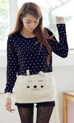 Cute,cute,cute...soooooooo cute! #Preppy #style  #cartoon #bunny  #polka #dot #sweater #blue #white #ahai @AHAI