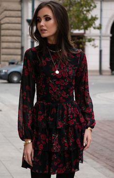 Roco Kobieca sukienka w róże 0261/D82 Winter Time, Xmas, Dresses With Sleeves, Long Sleeve, Fashion, Moda, Gowns With Sleeves, Fashion Styles, Christmas