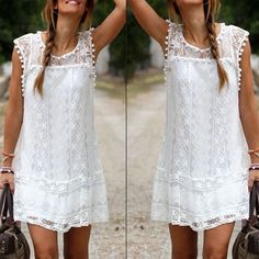 BOHO LACE MINI DRESS BLACK WHITE S-5XL