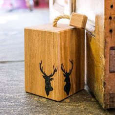 Stags Head Oak Doorstop Gift For Dad Gift For Him Door