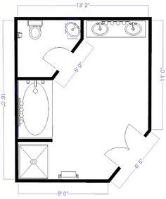 Bathroom Remodel Floor Plans bathroom and closet floor plans |  bathroom design 11x13 size