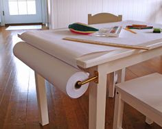 Child's Art Table || add a paper roll to child's table for easy access