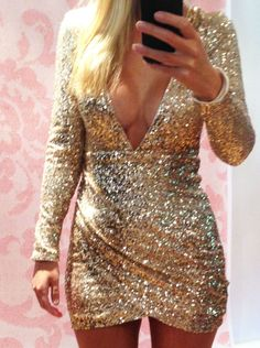 """""""Julia"""" Gold Full Sequin Plunge Wrap Skirt Sparkly Bodycon Dress Sizes 6-14 #Unbranded #Bodycon #Clubwear"""