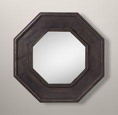 Salvaged Octagonal Mirror Black  33 3/4W x 1 1/4D x 33 3/4H