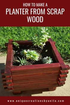 Unique Creations By Anita - DIY/Home decor and Craft Tutorials using Mainly Recycled MaterialsThanks thefarmgirlgabs for this post.DIY wooden planter made from scrap wood. This simple design is easy to make and will look great in your garden# Anita Wooden Garden Planters, Diy Planters, Planter Ideas, Planter Boxes, Plant Box, Plant Stands, Diy Furniture Plans, Diy Wood Projects, Wooden Diy