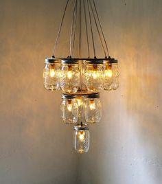 mason jar chandelier DIY...I want this!!!