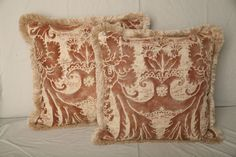 1stdibs.com | A Pair of 1950's Fortuny Fabric Cushions with Brush Fringe