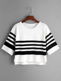 Camiseta de punto asimétrica de rayas con abertura lateral - blanco -Spanish SheIn(Sheinside) Sitio Móvil