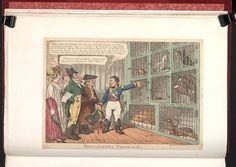 November 1808.Bodleian Libraries, Buonapartes menagerie.Caricature of Napoleon I. (British political cartoon);Napoleon shows his collection of animals representing European nations to a group of English citizens. One man, resembling the Duke of Wellington,remarks that the Spanish Macaws look likely to escape.; Attribution from BMC.