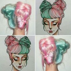 Hairstyles and Beauty: The Internet`s best hairstyles, fashion and makeup pics are here. Mint Green Hair, Mint Hair, Hair Color Dark, Cool Hair Color, Half And Half Hair, Split Dyed Hair, Hair Illustration, Candy Hair, Hair Dye Colors