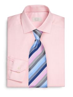 Striped Pink and Blue Tie + Pink Shirt