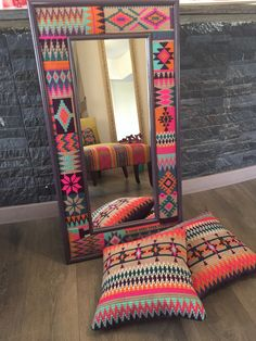 Handmade Mirrors, Ethnic Home Decor, Hand Embroidery Videos, Palestinian Embroidery, Wall Decor, Room Decor, Ramadan Decorations, Closet Designs, Camping Crafts