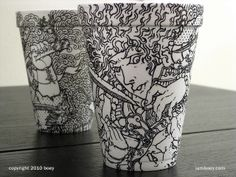 本是同根生 styrofoam cup and Sharpie pen by Cheeming Boey