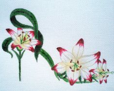 Handpainted Needlepoint Canvas Pink Peony Slipper by colors1