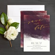Modern Brushstroke Save The Date Cards by | Elli