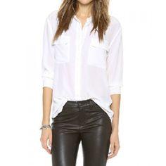 Casual Shirt Collar Long Sleeve Pocket Design Solid Color Women's Shirt