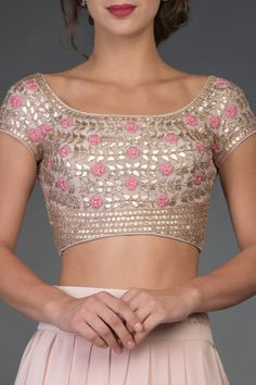Nude Pink Resham and Gota Patti Hand Embroidered Lehenga
