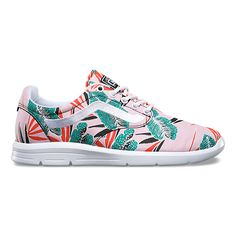 The Tropical Leaves Iso 1.5, a low top lace-up silhouette with minimal structure, features printed canvas uppers with the iconic Vans sidestripe, an athletic fit for enhanced heel support, and UltraCush Lite outsoles and sockliners to promote an extremely lightweight, comfortable feel.