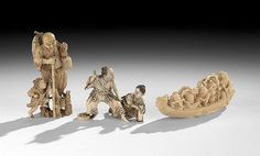 "Group of Three Japanese Carved Ivory Okimonos, Meiji period (1862-1912), one of a man stringing a bow with a young male attendant, one of an old man teaching a child to fish, and the third a carving of a phoenix boat with an oarsman and eight passengers, signed by various artists, sizes range from 2-3/4"" x 3-1/2"" to 4-1/2"" x 2-3/8""."