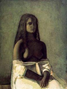 Balthus - Jeune Fille en jupe blanche . 1955