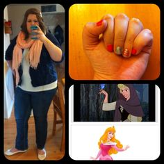 Princess look alike, Day 1: Sleeping Beauty - I didn't have much in the way of pink so I just used a scarf, and I chose the navy cardigan to combine the peasant, Briar Rose with the pink of Princess Aurora. I think the nails complimented it really well! Look for another princess look alike later!-JB