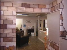 Design Ideas, : Amazing Home Interior Decoration With Brown Natural Painted Cinder  Block Walls Including