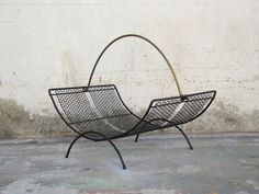 Image of Mesh Wire Magazine Rack with Brass Handle