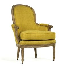 Emeze French Country Saffron Yellow Carved Wood Bergere Club Chair | Kathy Kuo Home