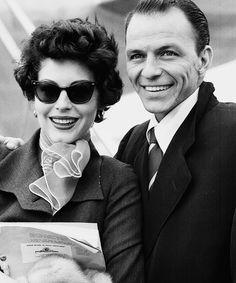 Ava Gardner and Frank Sinatra.strolling down Fifth Avenue window shopping at Tiffany