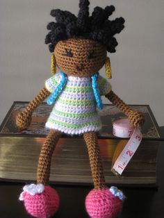 Crochet African Princess and the Pea Doll in Spring Colors Plush Dreads Black Hair Stuffed Toy Baby Girl Gift MADE TO ORDER. $40.00, via Etsy.