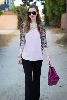Outfit idea--I have a leopard-print cardigan and chunky necklace, pair with black trousers and a solid top Black Trousers, Trouser Pants, Black Slacks, Fashion Pants, Mom Fashion, Style Fashion, Leopard Print Cardigan, Winter Outfits For Work, Professional Outfits