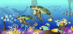 Under Sea Kids Wall Murals Design - like the idea of having sea creature shadows.