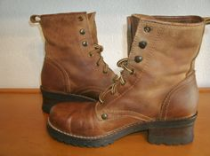 c35c3d30dd Vintage Mainframe Brown Leather Distressed    Rugged    Rustic Lace up  Ankle Boots Made In Brazil
