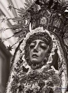 Virgen de los Dolores  A vintage photograph of the Virgin of Sorrows in Cordoba, Spain.
