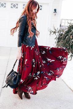 Chicwish maroon floral maxi dress