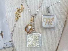 INITIAL LETTER M SILVER Soldered Pendant Sm Charm & by FireflyzLLC, $24.50