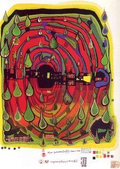 Reproduction de Hundertwassser, D'Un Jour De Pluie En Jour Pluvieux. Tableau peint à la main dans nos ateliers. Peinture à l'huile sur toile.