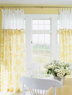 I like these curtains. I like that the top bit is sheer to keep things light and airy and still give privacy.