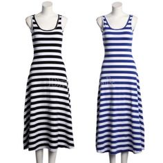 Fashion Women's Girl Sleeveless Stripe Net Yarn Splicing Slim Maxi Dress