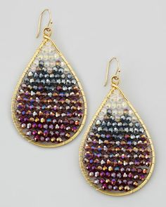 "Ombre Crystal Drop Earrings by Nakamol at Neiman Marcus... Golden drop earrings, 2 1/4"" drop. Ombre crystal beads fill teardrop frame. Hook-through backs. $62"