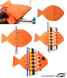 Tutorial / Fish from braided colored paper strips - . - Tutorial / Fish made of braided colored paper strips - Creative Activities, Art Activities, Weaving For Kids, Cute Kids Crafts, Paper Weaving, Fish Crafts, Paper Strips, Sunday School Crafts, Kindergarten Art