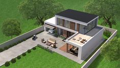 This is a Modern House rendered by Brick and Wood Planks. House Front Design, House Design Photos, Small House Design, Modern House Design, Modern Bungalow House, Modern House Plans, House Layout Plans, House Layouts, Home Building Design