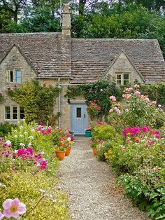 English cottage--Like the roof line and windows